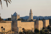 The Old City wall and Dormition Abbey from the northwest.