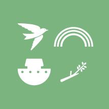 Noah's Ark, ark, olive branch, twig, branch, rainbow, hope, dove, bird, biblical scene