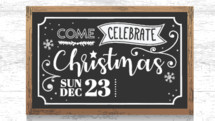 Christmas 2018 chalkboard lettering add your service times