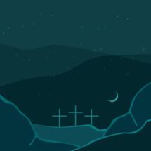 three crosses on a blue landscape