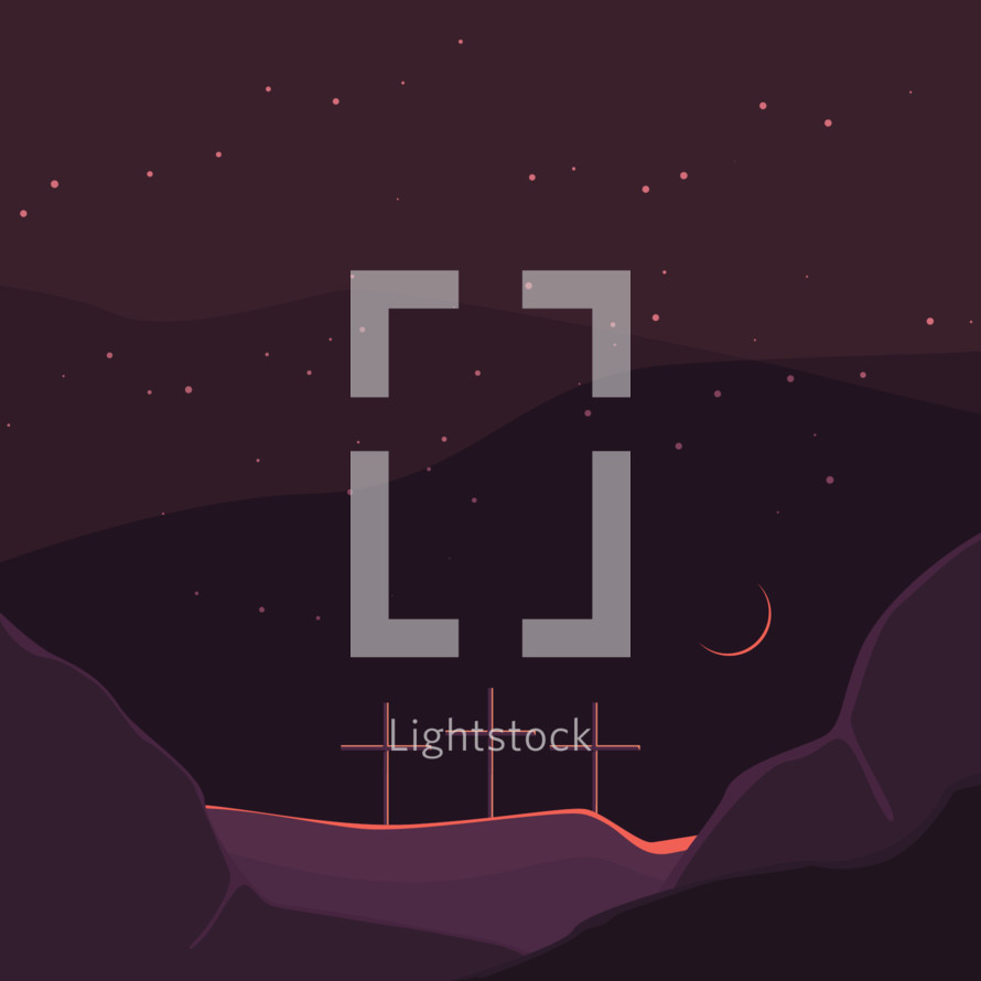 three crosses on a purple landscape at night