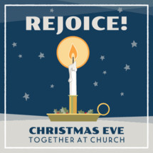 Christmas Eve church service graphic with candle holly and berries