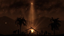 Christmas Scene with twinkling stars and brighter star of Bethlehem with sparkling nativity characters and animated animals and trees. Seamless Loop with Nativity Christmas story with twinkling stars and moving wispy clouds and real animals and trees. 4k