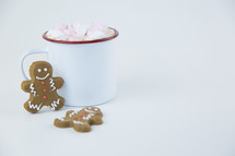 ginger bread cookies and hot cocoa