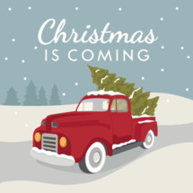 Christmas red truck with tree in snowy winter scene