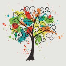 swirly tree with colorful paint splatter.
