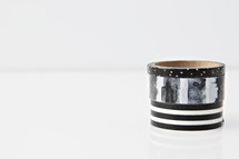 black and white wooden rings