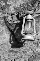 lantern on rocks