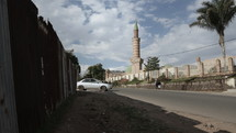 Time Lapse View Of Mosque Minaret In African Town