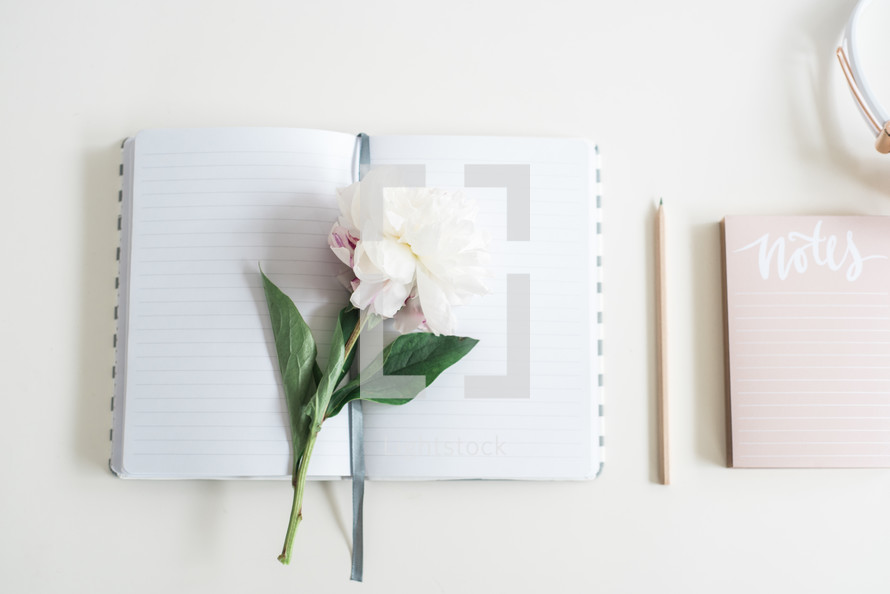 flowers on a journal, notepad, and pencil on a desk
