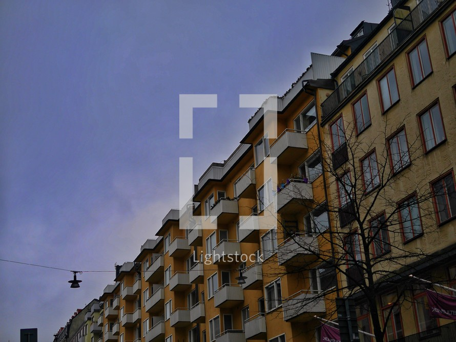 balconies on apartments in Sweden