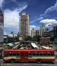 red city bus in Bangkok, Thailand
