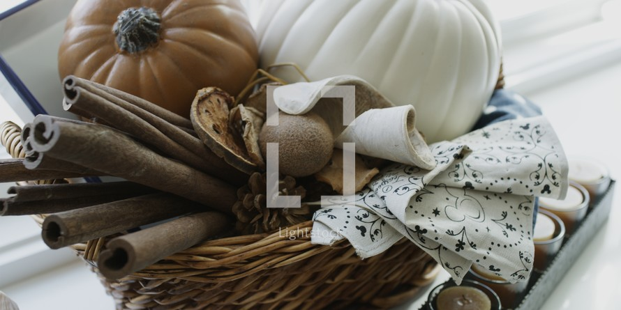 cinnamon sticks and pumpkins