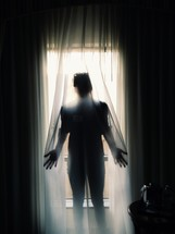 a woman standing behind a sheer curtain