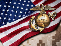 American flag and bronze marine seal