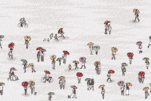 tiny people walking in the rain