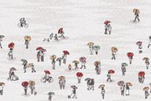 tiny people walking in the rain