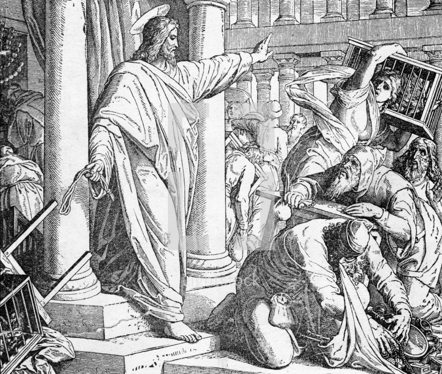 Jesus drives the money-changers out of the temple, John 2: 15-16