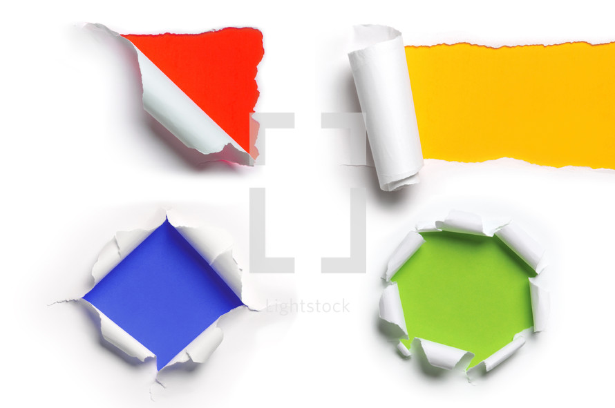 ripped paper, blue, orange, green, yellow