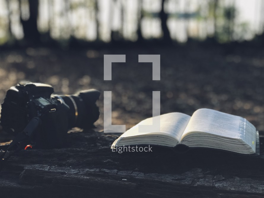 camera and open Bible on the ground outdoors