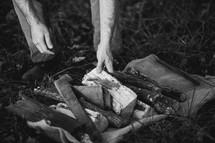 a man unloading firewood