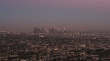 time-lapse of distant downtown LA