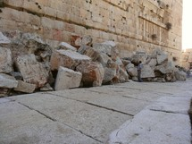 Thrown-down Temple stones (in fulfilment of Jesus' prophecy)