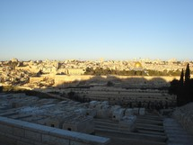 Mt of Olives cemetary with Temple Mt & Jerusalem wall in background