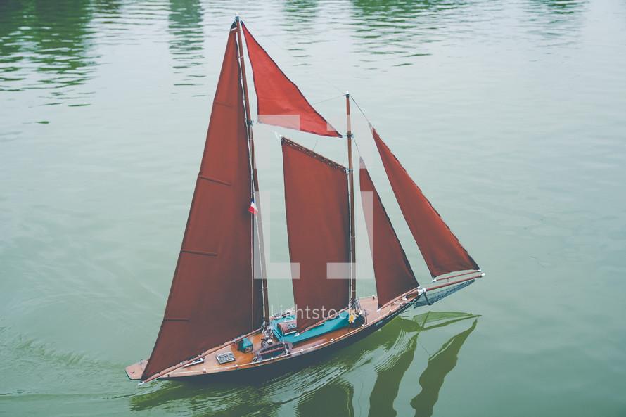 sailboat on Paris Luxembourg Garden Pond