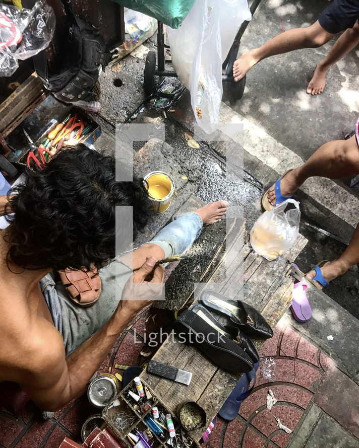 shoe repair in Bangkok, Thailand
