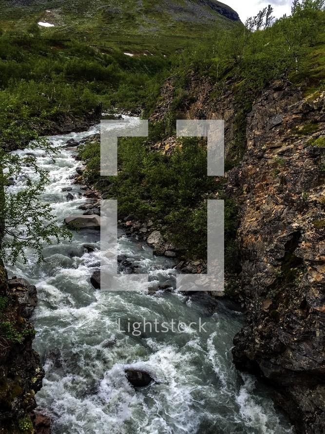 flowing river in Kiruna, Sweden