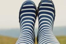 striped rain boots