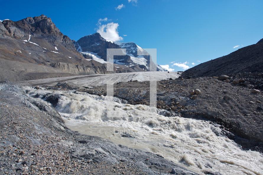 Glacier with ice melt