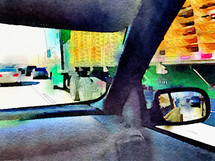 truck from a car window watercolor