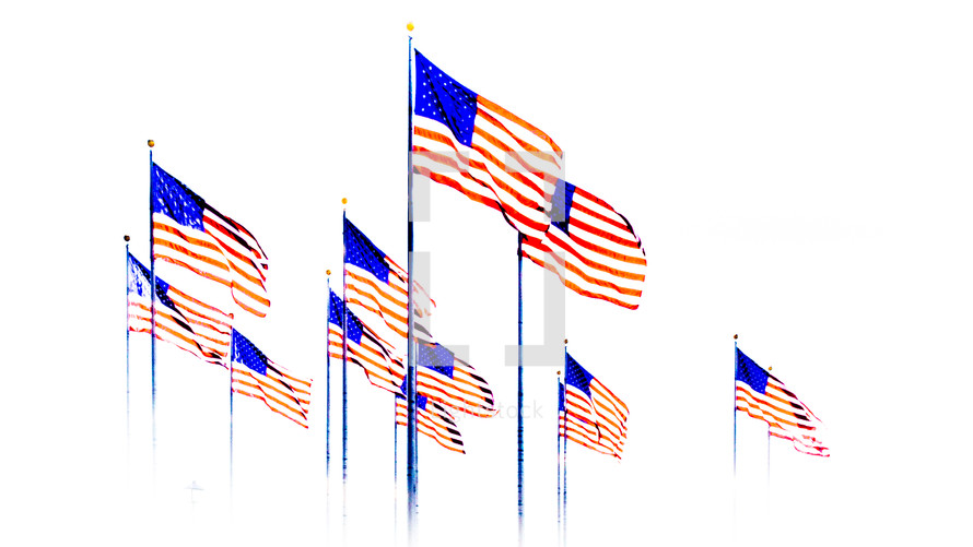 An array of American flags on a white background.