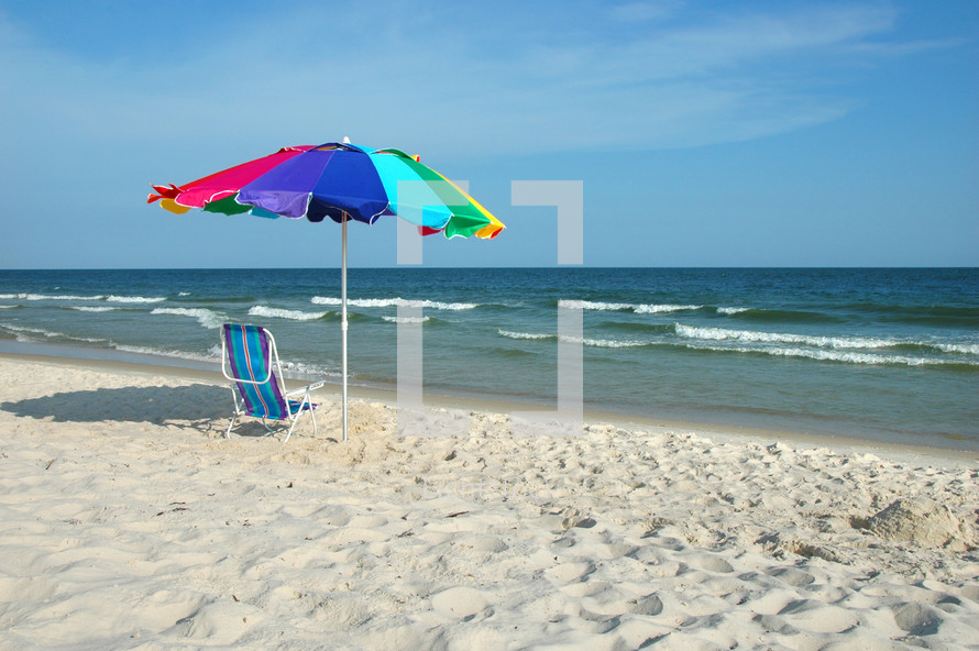 umbrella and chair on a beach