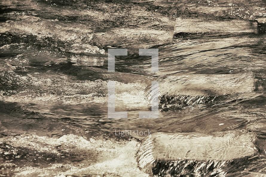 water steps in a creek