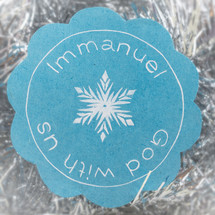 Immanuel God with us and snowflake badge