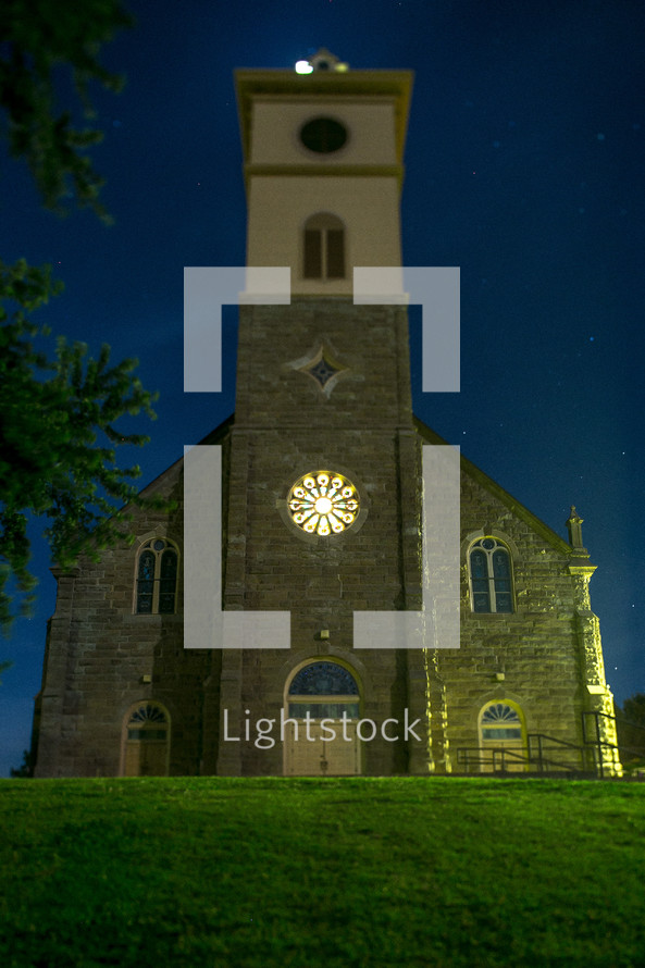 Old stone church at night