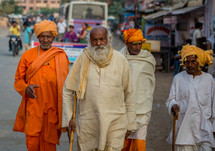 men walking on the streets of India