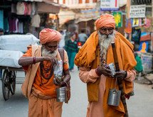 people walking the streets of India