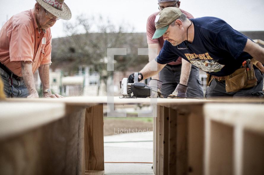 sawing wood