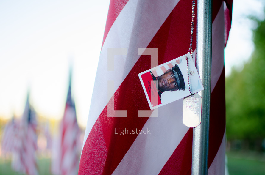 patriotic Valor Flags and dog tags