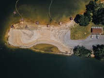 aerial view over a sandy shore
