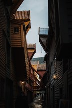 wooden cabins and narrow alley