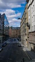 cars on a European city street
