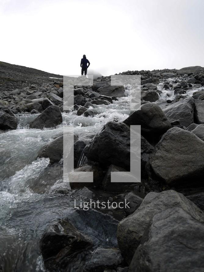 water flowing over rocks in Kiruna, Sweden