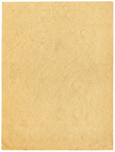 Blank beige sheet of old paper isolated on white. Empty background with vintage texture.