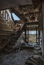 stairs in an abandoned house