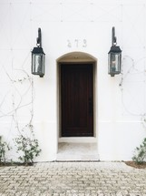 front door and lamps